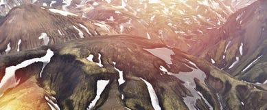 Panoramatic视图山在冰岛, Landmannalaugar 库存照片