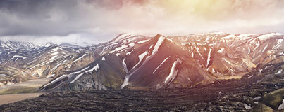 Panoramatic视图山在冰岛, Landmannalaugar 免版税图库摄影
