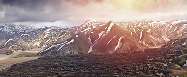 Panoramatic视图山在冰岛, Landmannalaugar 库存图片