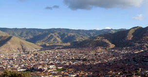 Panoramatic sikt av Cusco, Peru Arkivfoto