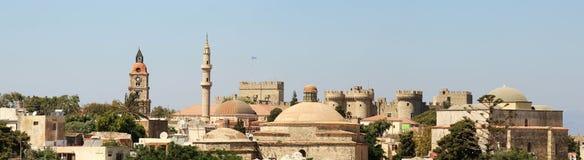 Panoramatic sikt av den gamla rhodes staden Royaltyfria Foton