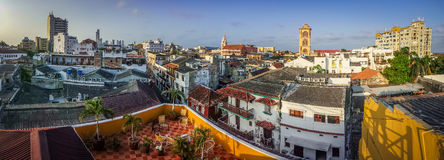 The panoramatic view of Cartagena town, Colombia. The panoramatic view of town of Cartagena, Colombia royalty free stock images