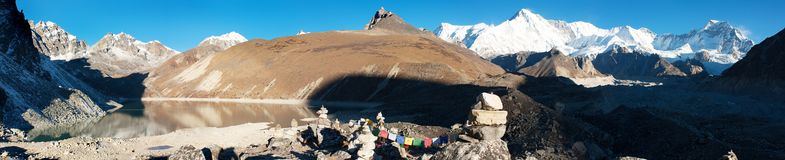 Panoramatic view of Cho Oyu Stock Photos
