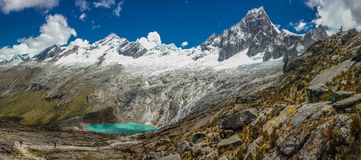 Panoramatic view of Cordillera Blanca in Peru. Scenic panoramatic view from Punta Union, the highest poit of Santa Cruz trek stock photography
