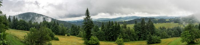 Panoramatic view on the country around. Panoramatic view on the cloudy country around royalty free stock images