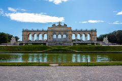 Panoramatic view on Gloriette, Schonbrunn Park, Vienna royalty free stock photos