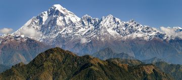 Panoramatic view from Jaljala pass of Dhaulagiri. And Annapurna Himal - Guerrilla trek in Western Nepal Stock Image
