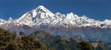 Panoramatic view from Jaljala pass to Dhaulagiri Himal Stock Photos