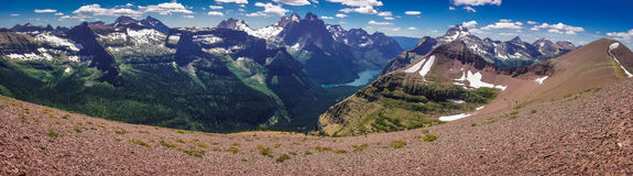 Panoramatic view of mountains in Glacier NP, US. From Acamina trail in Waterton Lakes NP in Canada stock image