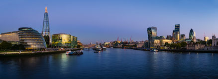 Panoramatic view of Thames river with modern London cityscape Stock Image