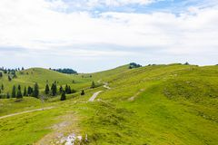 Panoramatic view to Slovenia Alps near city Kamnik. Big plateau with pasture and wooden houses. Landscape with green grass and stock image