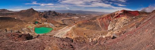 Panoramatic view of Tongariro Crossing track, NZ. One of the great walk of the world according to Lonely Planet guide, beatiful volcanic landscape, trekking stock photos