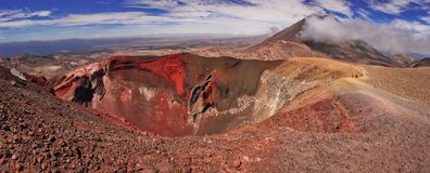 Panoramatic view of unique volcanic landscape of Tongariro NP in New Zealand. Tongariro crossing track around red crater of Tongariro volcano, Mt. Ngauruhoe in royalty free stock photography