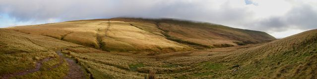 Panoramatic view of valley in Brecon Beacon in South Wales Royalty Free Stock Photography