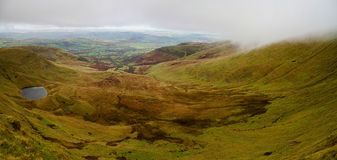 Panoramatic view of valley in Brecon Beacon in South Wales Stock Image