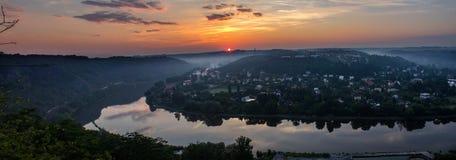 Panoramatic widok od natura punktu obserwacyjnego Vltava meander, horsesho fotografia royalty free