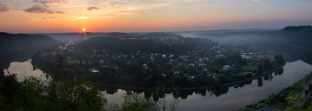 Panoramatic widok Vltava meander, podkowa w wschodzie słońca, czech zdjęcie royalty free