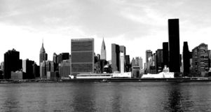 Panoramaticmening aan wolkenkrabbers in Manhattan royalty-vrije stock foto