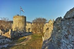 Panoramatorn av den bysantinska fästningen i Kavala, Grekland Royaltyfri Fotografi
