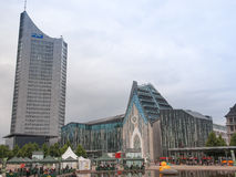 Panoramatorn Leipzig Arkivfoton