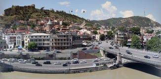 Panoramautsikt över gammal stad av Tbilisi Arkivfoto
