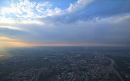 Panoramautsikt över Magdeburg till norden Royaltyfri Bild