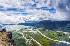 Panoramautsikt över Rappadelta i Sverige Abisko Royaltyfria Bilder