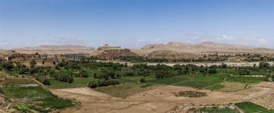 Panoramautsikt av Ait Benhaddou, Marocko Arkivbild