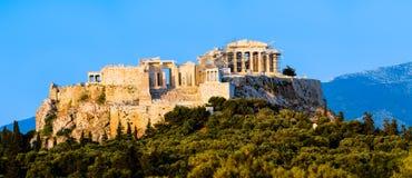 Panoramautsikt av akropolen och parthenonen royaltyfri bild