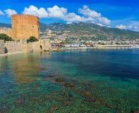 Panoramautsikt av Alanya arkivfoto