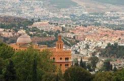 Panoramautsikt av Alhambra, Granada, Spanien royaltyfri foto