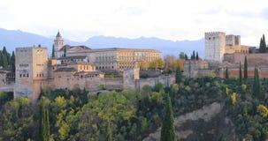 Panoramautsikt av Alhambra i Granada lager videofilmer