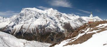 Panoramautsikt av Annapurna område Royaltyfri Fotografi