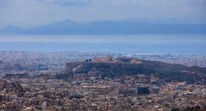 Panoramautsikt av Aten Grekland Fotografering för Bildbyråer