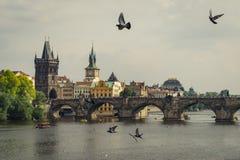 Panoramautsikt av berömda Charles Bridge Karluv mest och den gamla staden i Prague, Tjeckien royaltyfri bild