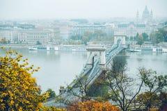 Panoramautsikt av budapest i höst Royaltyfri Bild