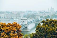 Panoramautsikt av budapest i höst Arkivbilder