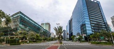 Panoramautsikt av byggnader på Faria Lima Avenue i Sao Paulo det finansiella området - Sao Paulo, Brasilien Royaltyfria Bilder
