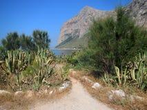 Panoramautsikt av capoen Gallo som ses från Punta Barcarello Royaltyfri Fotografi