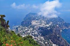 Panoramautsikt av Capri från kloster av Cetrella, Capri ö, Italien Arkivbild