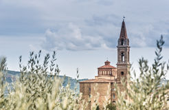 Panoramautsikt av Castiglion Fiorentino Arkivfoton