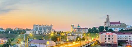 Panoramautsikt av centret av Grodno arkivfoto