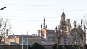 panoramautsikt av Certosa di Pavia i vår royaltyfria bilder