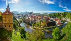 Panoramautsikt av Cesky Krumlov Royaltyfri Foto