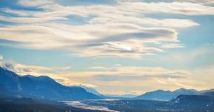 Panoramautsikt av Columbia sjön från Mt Swansea Kanada Arkivfoton