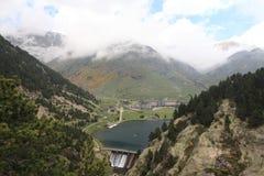 Panoramautsikt av dalen nuria Arkivbilder