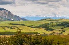 Panoramautsikt av dalen, Patagonia, Chile arkivfoto