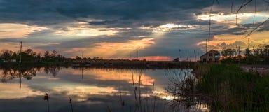 Panoramautsikt av dammet royaltyfri foto