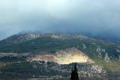 Panoramautsikt av de höga gröna bergen i Montenegro Royaltyfria Bilder