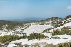 Panoramautsikt av de sju Rila sjöarna i det Rila berget, Bulgarien Royaltyfria Foton